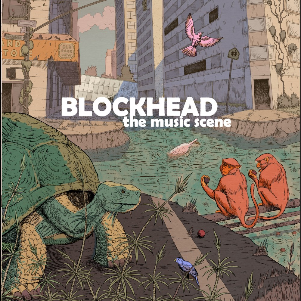 "Album art for Blockhead's ""The Music Scene"". Illustration of flooded city streets with two monkeys and a turtle."